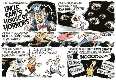 Jeff Koterba October 6, 2013. Horror NSA Shutdown Halloween